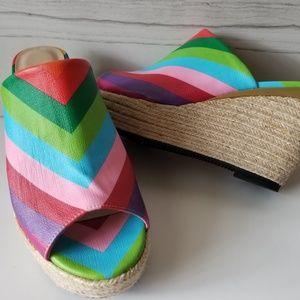 J. Renee Prys Rainbow platform wedge shoes SZ 9